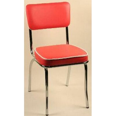 Retro Side Chair (Set of 2) Upholstery: Red