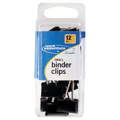 Small Binder Clip, Scratch Resistant, 12 per Pack, Black
