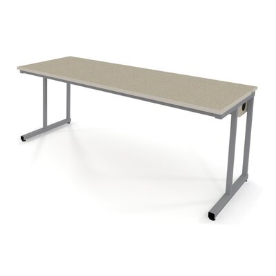 """Fleetwood Wide Computer Table w/ Flip-Top Wire Management & Adj Height -Corners:Square Corners, Dimensions:48"""" Wx30"""" D, ..."""