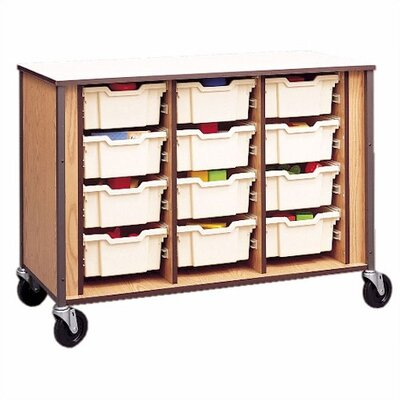 Tray Cubby with Small Gratnells Trays Size: 24 Small, Color/Trim: Light Oak/Black (Quick Ships)