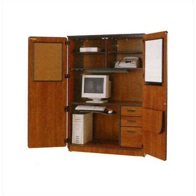 Computer Armoire Desk Office Suite with Locking Doors   Office