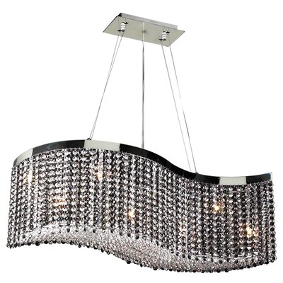 8-Light Kitchen Island Pendant Crystal: Black and Clear Crystal