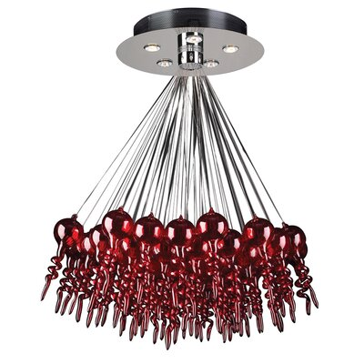 1-Light Cluster Pendant Color: Red