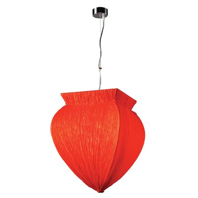 Bombay 1-Light Pendant Shade Color: Red, Bulb Type: 60W A19 incandescent bulb