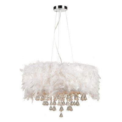 Peacock 5-Light Pendant Shade Color: White