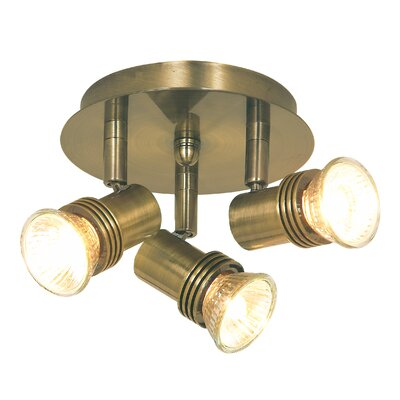 Home Essence Decor 3 Light Spotlights in Antique Brass (Set of 6)