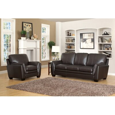 Darby Home Co DRBC4765 32356571 Whitstran Top Grain Leather Sofa and Armchair Set