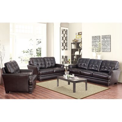 Darby Home Co DRBC4757 32356563 Schilling 3 Piece Top-Grain Leather Living Room Set