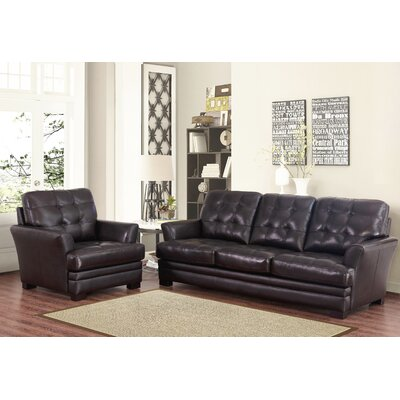 Darby Home Co DRBC4755 32356561 Schilling Top-Grain Leather Sofa and Armchair Set