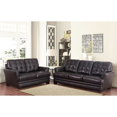 Darby Home Co DRBC4756 32356562 Schilling Top-Grain Leather Sofa and Loveseat Set