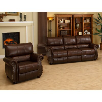 Abbyson Living Houston Italian Leather Sofa and Armchair Set - Sofa and Chair Shop