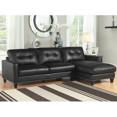Elverson Reversible Sectional Upholstery: Black