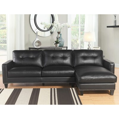 Elverson Leather Reversible Sectional Upholstery: Black