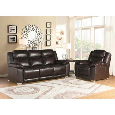 Evansburg Top Grain Pushback Reclining Sofa and Recliner Set Upholstery: Brown