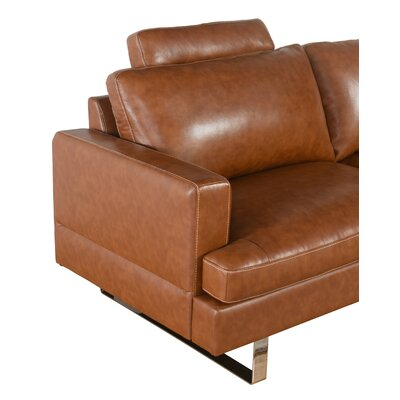 Charles Mid Century Top Grain Leather Loveseat