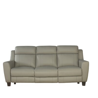 Latitude Run LRUN6060 Florham Gray Top Grain Leather Power Reclining Sofa and Recliner Set