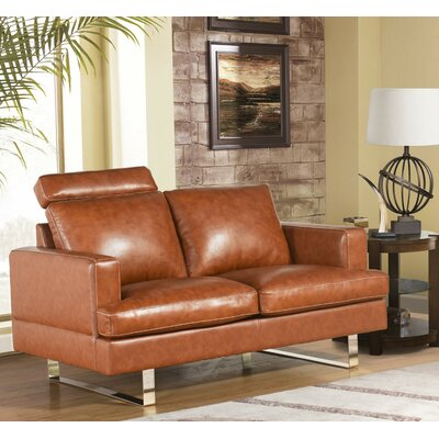 Charles Top Grain Leather Loveseat