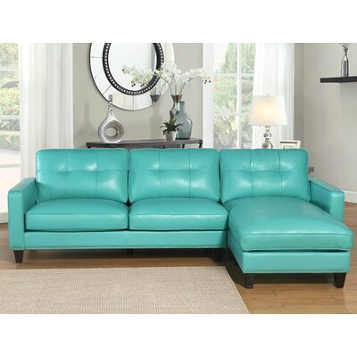Elverson Leather Reversible Sectional Upholstery: Turquoise