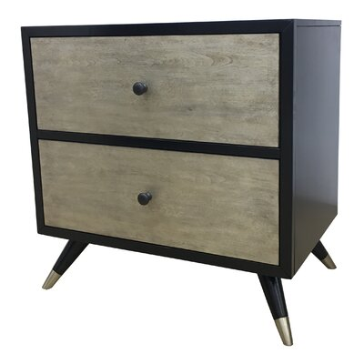 Gibson Mid Century 2 Drawer Nightstand