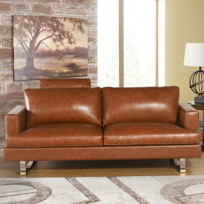 Charles Mid Century Camel Top Grain Leather Loveseat