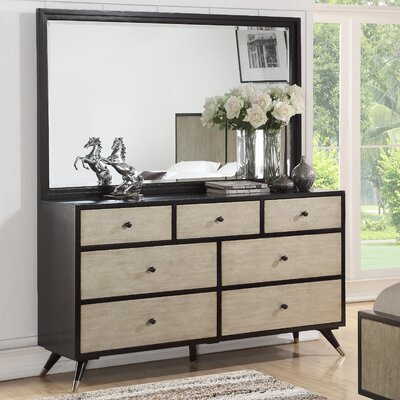 Bobby Mid Century 7 Drawer Dresser with Mirror