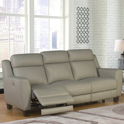Latitude Run LRUN6041 Florham Top Grain Leather Power Reclining Sofa and Recliner Set