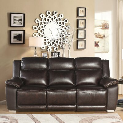 Evansburg Leather Reclining Sofa Upholstery: Brown