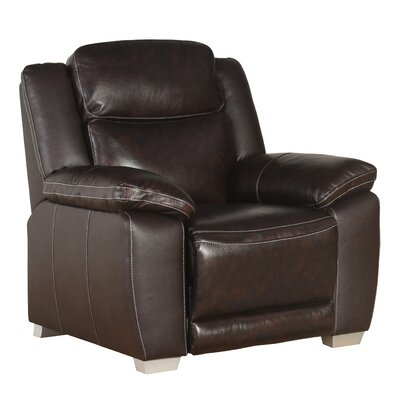Evansburg Top Grain Pushback Recliner Upholstery: Brown