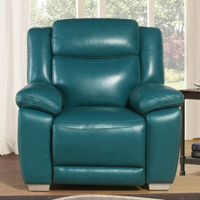 Evansburg Top Grain Pushback Recliner Upholstery: Dark Turquoise