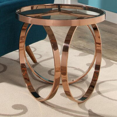 Amira Stainless Steel End Table Color: Rose Gold