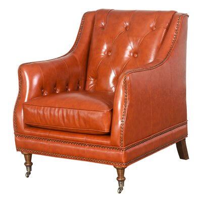Chinery Leather Club Chair Upholstery: Burnt Orange