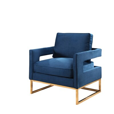 Clapham Velvet Arm Chair Upholstery: Navy