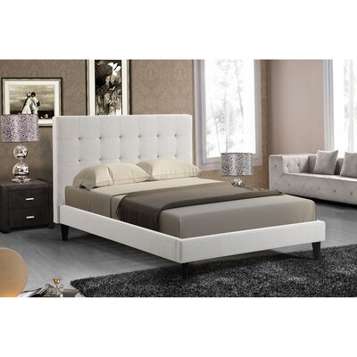 Bruno Tufted Upholstered Platform Bed Size: King, Upholstery: Ivory