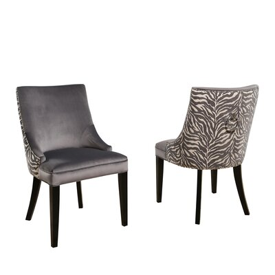 Myrtie Velvet Zebra Upholstered Dining Chair