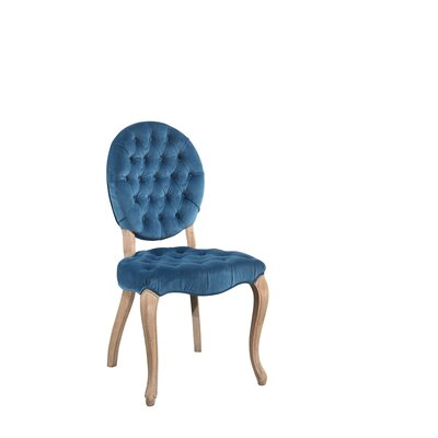 Manlius Vintage Oval Tufted Velvet Upholstered Dining Chair Upholstery Color: Blue