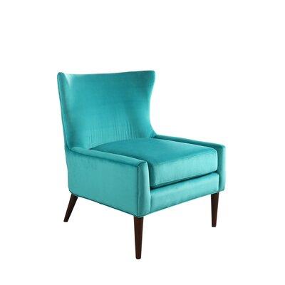 Caledonian Velvet Wingback Chair Upholstery: Turquoise