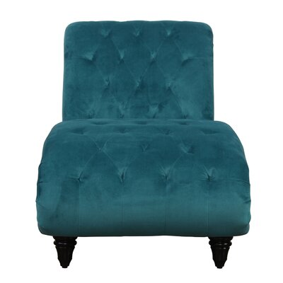 Houghton Tufted Velvet Chaise Lounge Upholstery: Teal