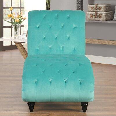 Houghton Tufted Velvet Chaise Lounge Upholstery: Aqua