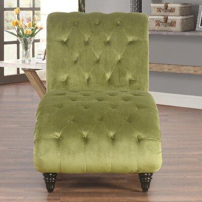 Houghton Tufted Velvet Chaise Lounge Upholstery: Olive
