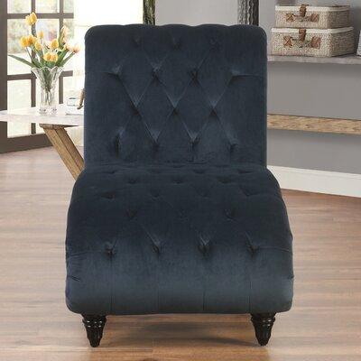Houghton Tufted Velvet Chaise Lounge Upholstery: Navy