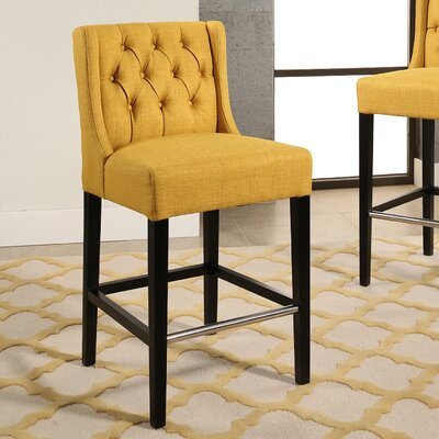 Bullion Tufted Counter 27 Bar Stool Upholstery: Gold