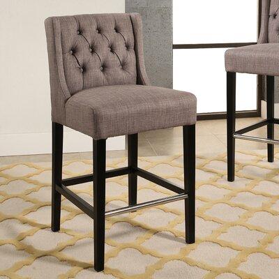 Bullion Tufted Counter 27 Bar Stool Upholstery: Gray