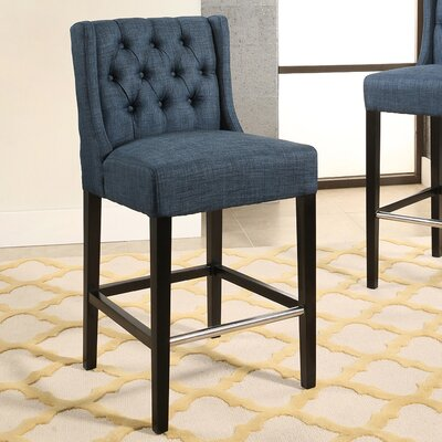 Bullion Tufted 30.7 Bar Stool Upholstery: Navy