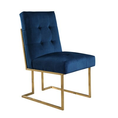 Greenwich Velvet Upholstered Dining Chair Upholstery Color: Navy