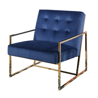 Redbridge Stainless Steel Velvet Arm Chair