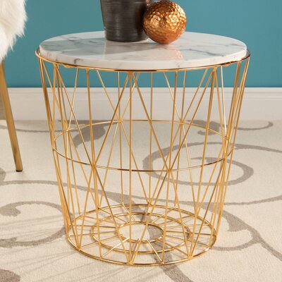 Browning Marble Stainless Steel End Table