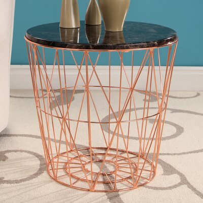 Browning Geometric Marble Stainless Steel End Table