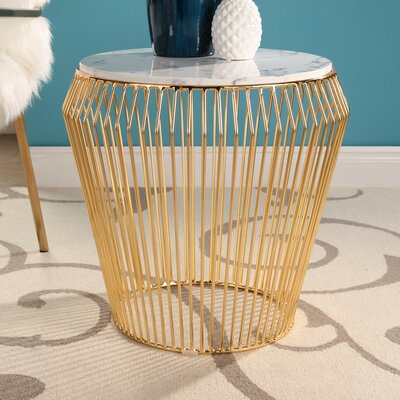 Brooklyn Round Marble Top Stainless Steel End Table