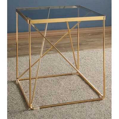 Balham Glass Top Stainless Steel End Table