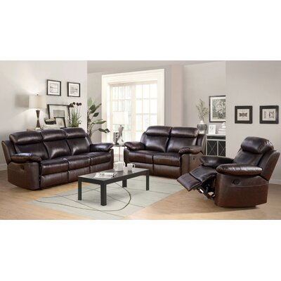 Oliver 3 Piece Leather Reclining Living Room Set